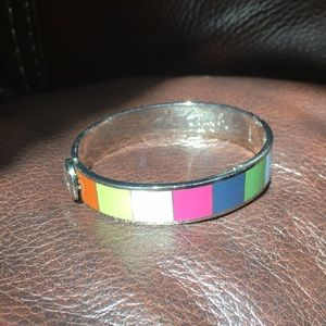 Coach Signature Multi-Color Silver Bangle